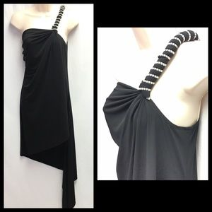 Janine Black One Shoulder Tunic Top Cocktail Party